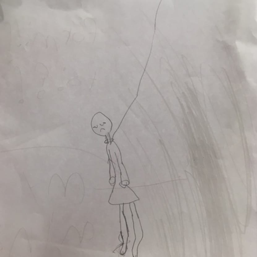 child's drawing of someone being hung. When should kids have smartphones?