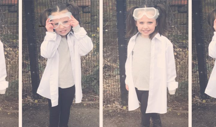 girl dressed as scientist