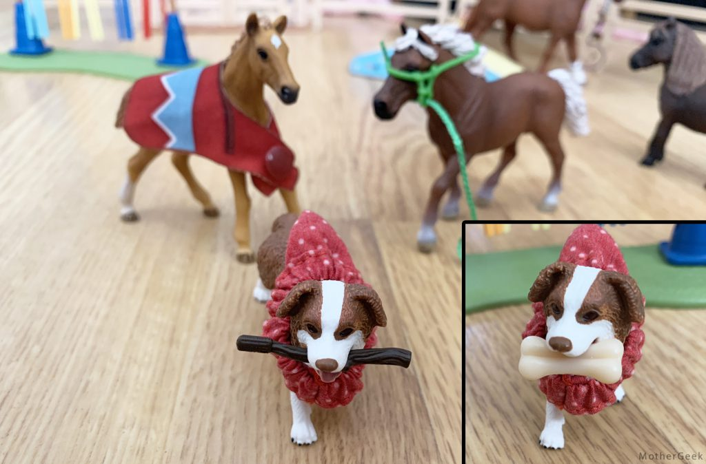 Schleich Horse Club Hannah's guest horses dog with bone and stick
