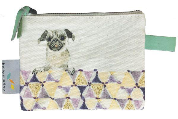 Coin purse with a pug on it. Win £50 to spend at Hello Sunday