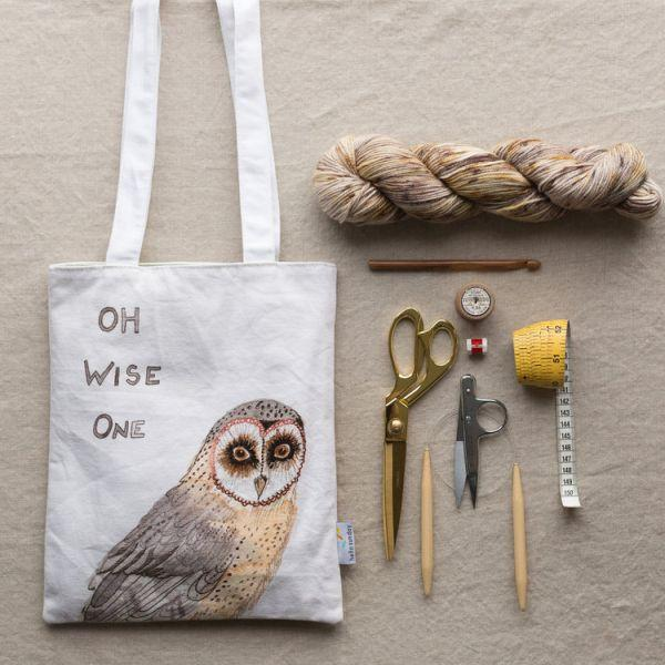 Owl tote bag saying oh wise one on the front.