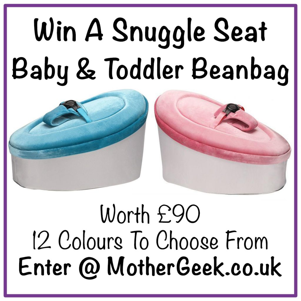 pinterest pin saying win a snuggle seat and showing a pink and a blue snuggle seat
