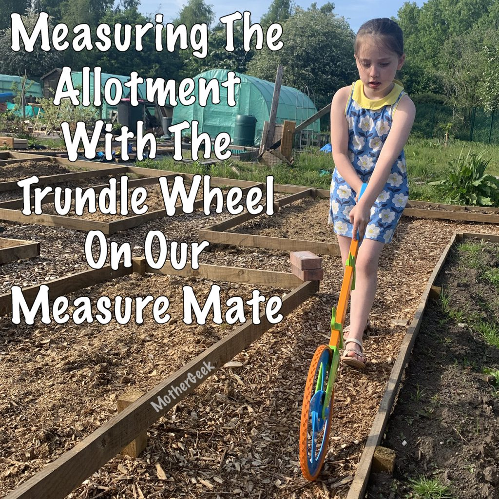 Girl using the trundle wheel on a measure mate to measure allotment.
