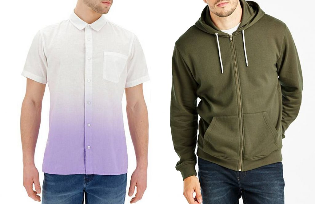 mens white shirt with lilac bottom and khaki hoodie - Summer fashion for Dads