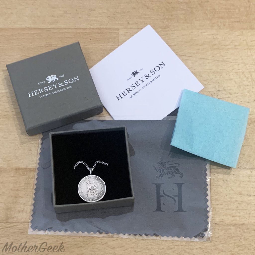Lucky Sixpence Pendant and all the packaging