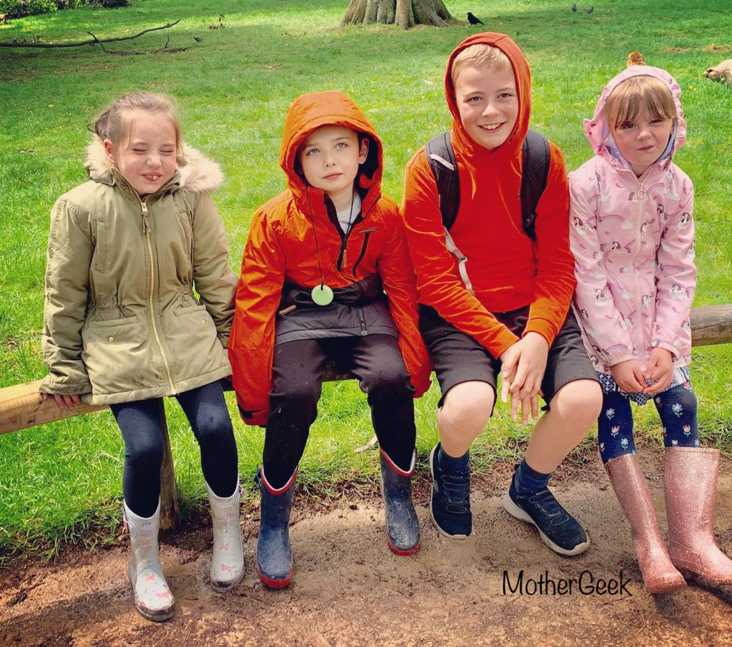 4 kids sat on a barrier in Monkey Gardens