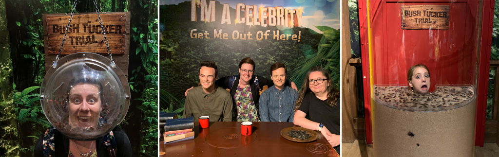 I'm A Celebrity zone in Sam and sir David Attenborough in Madame Tussauds Blackpool with kids