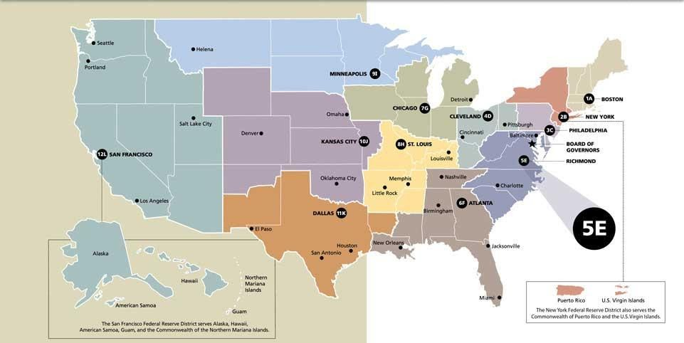 All the Federal reserve headquarters around the USA