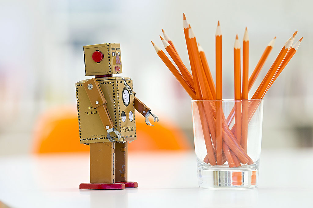 Robot and pencils