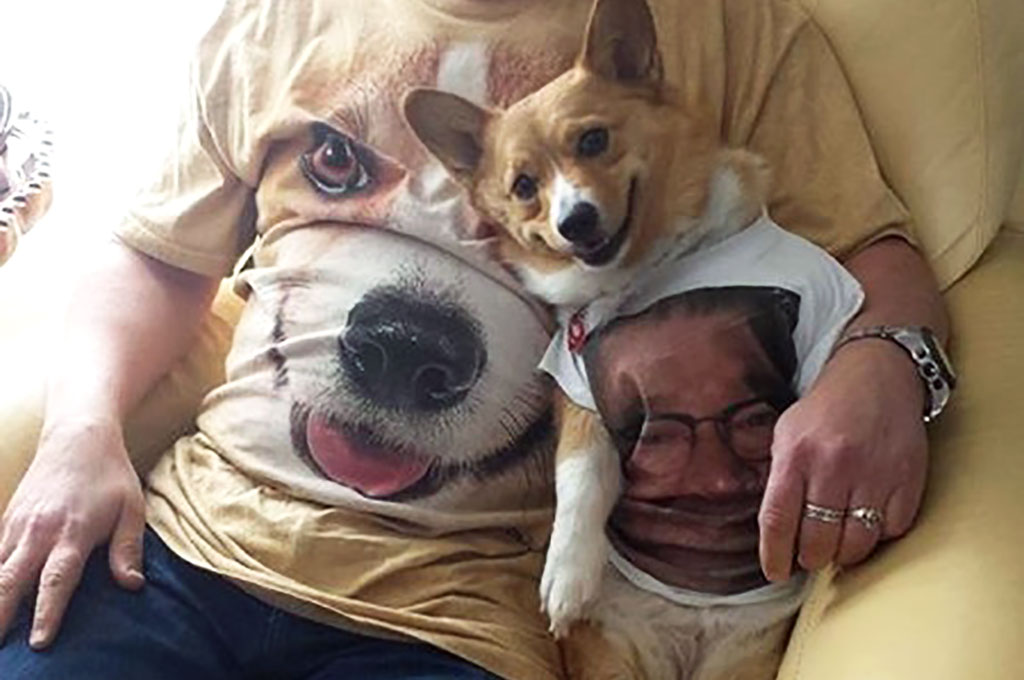 Man in dog t shirt with dog