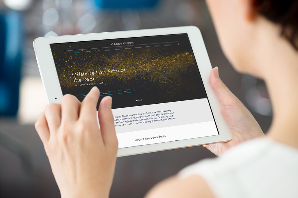 Carey Olsen website on tablet