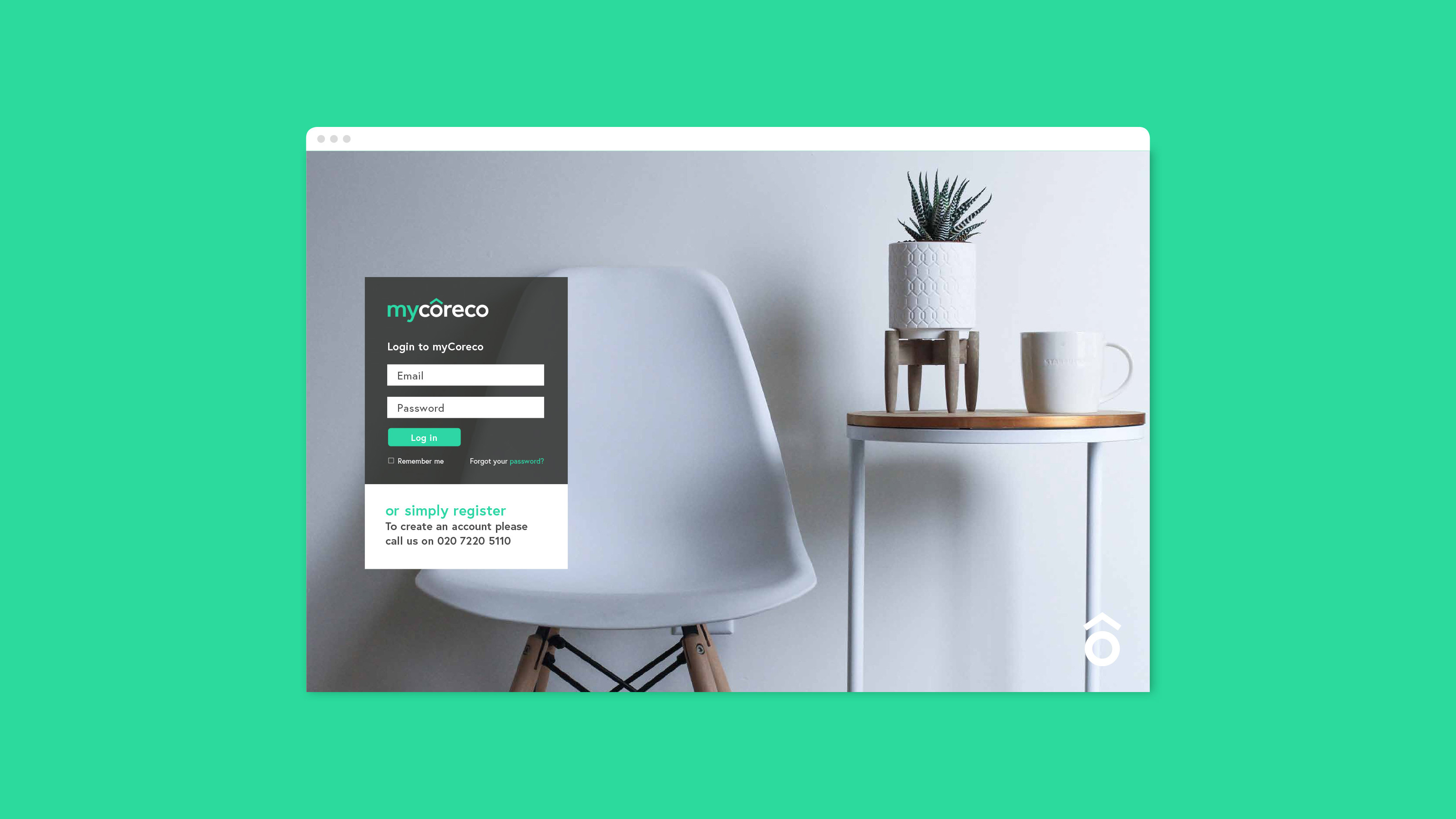 Digital login page design Coreco