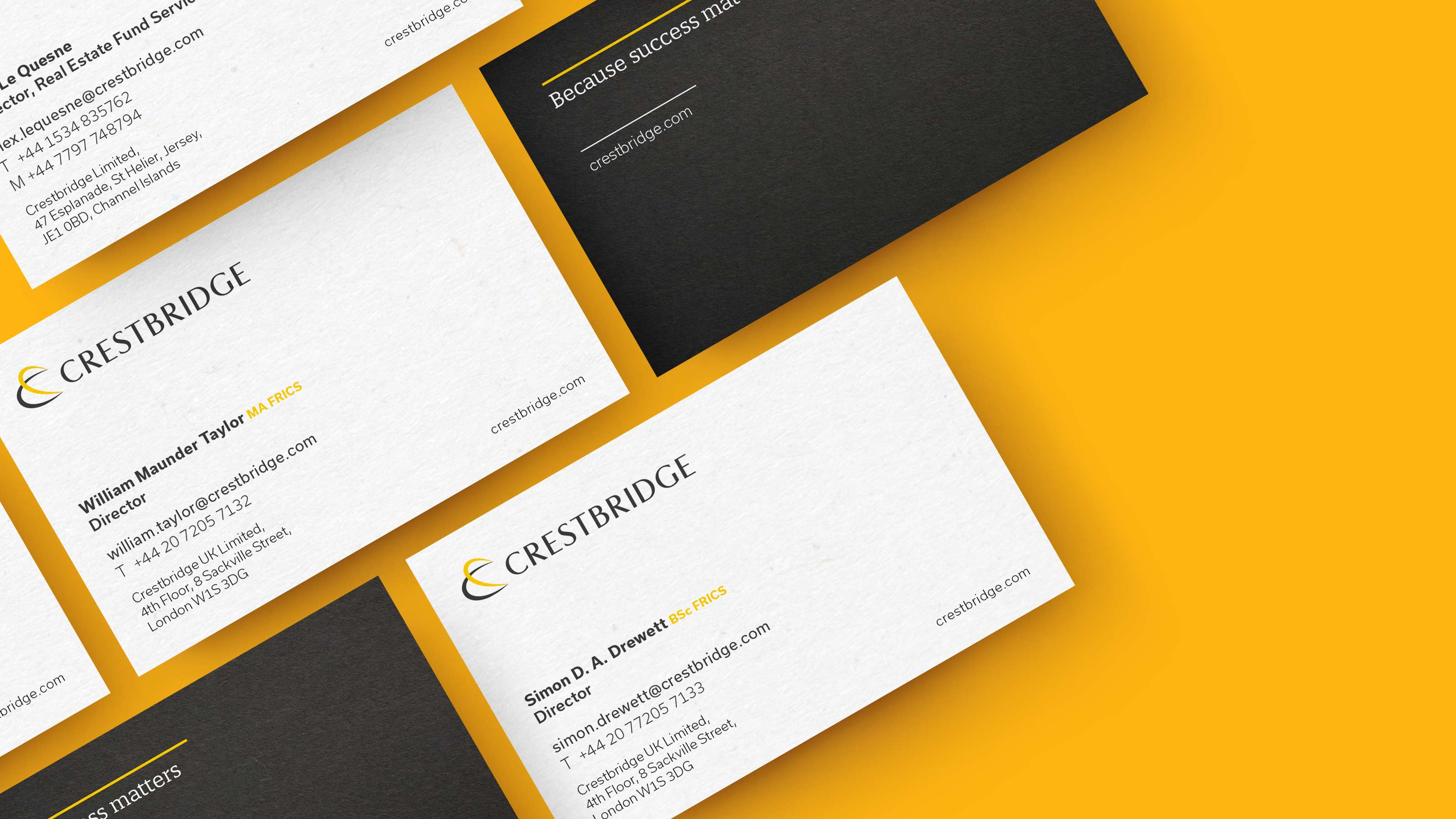 Brand business card design Crestbridge