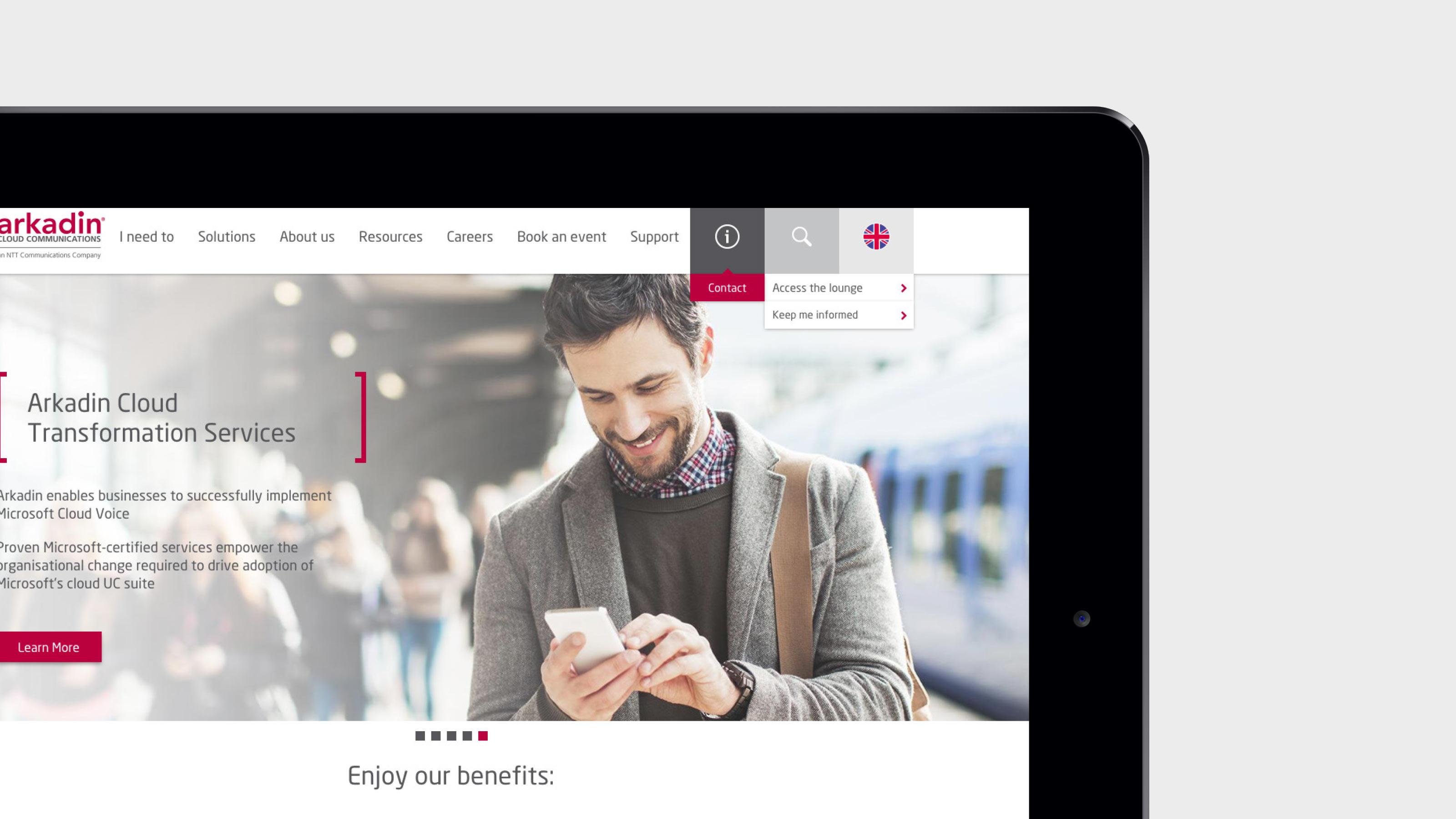 Digital tablet web page Arkadin