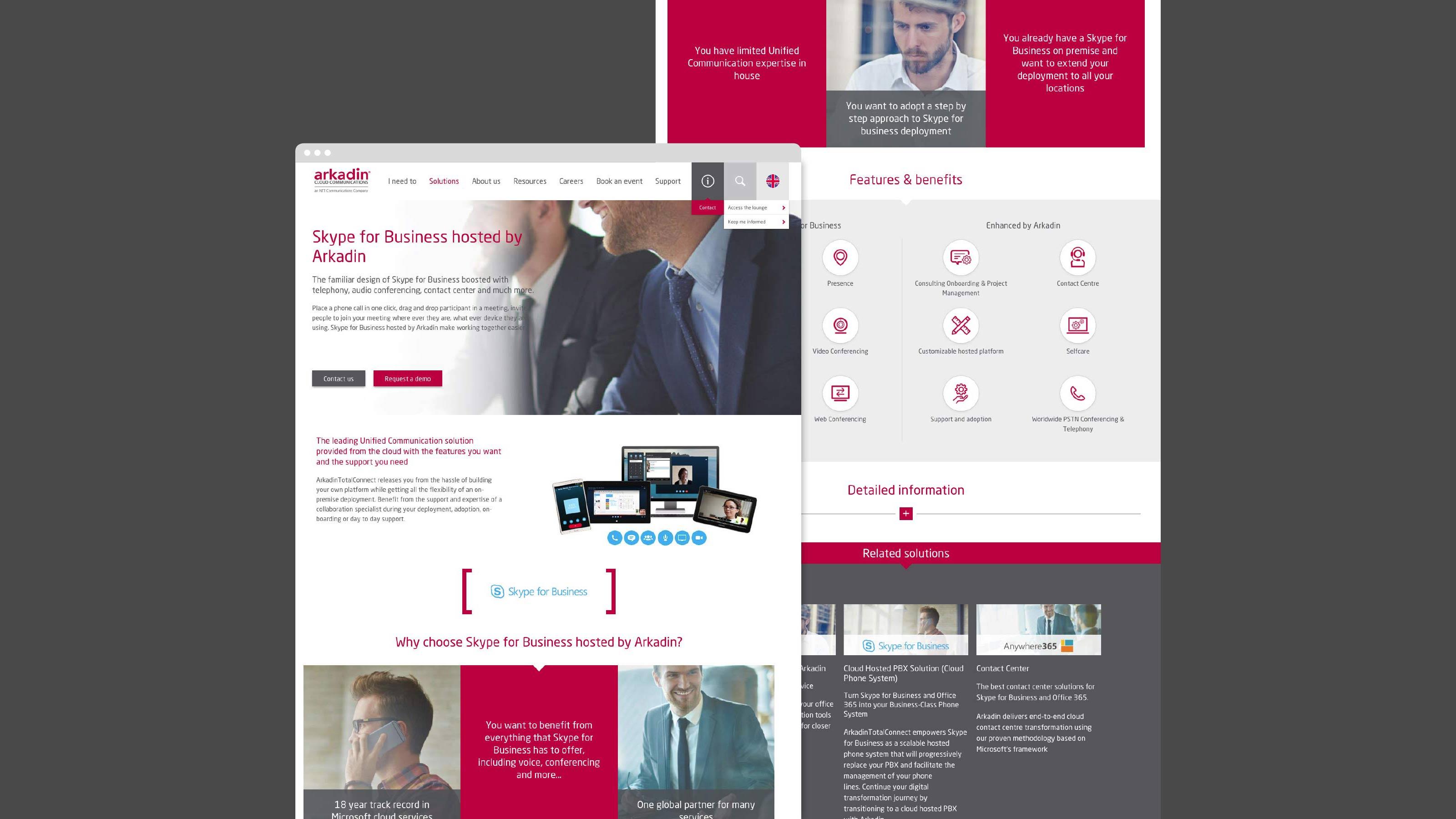 digital website design desktop Arkadin