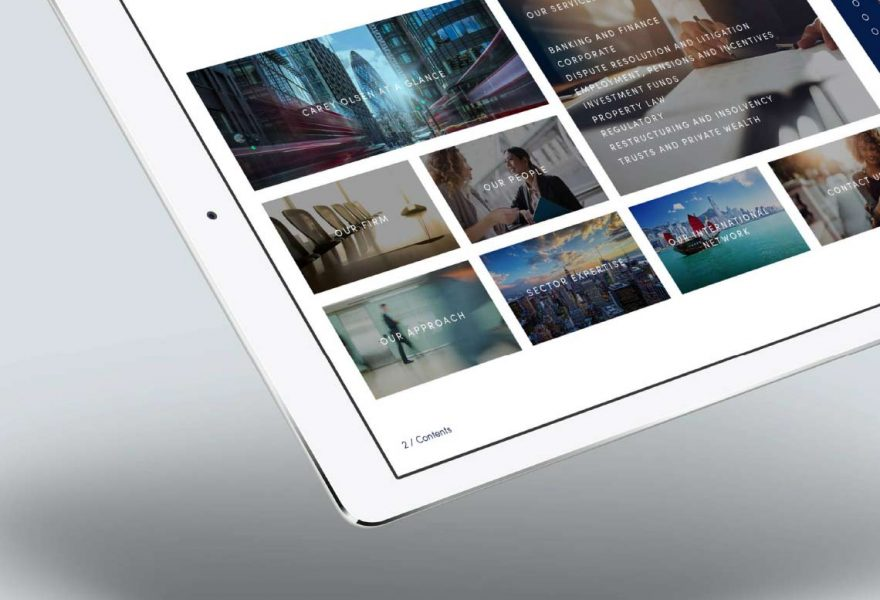 marketing tablet design Carey Olsen