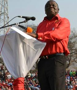 Interview:  Tsvangirai on polls and the future  Celebration … Tsvangirai at the MDC-T's 14th anniversary celebrations in Mutare