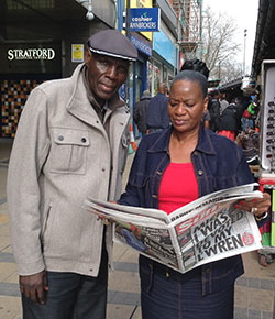 Mtukudzi,  Sulu jet in for UK shows  Sampling UK news … Mtukudzi and his wife, Daisy, after arrivng in London Wednesday