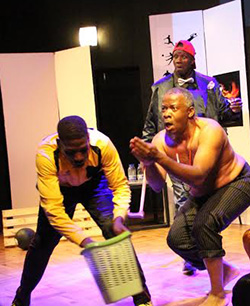 Rooftop's 'Juju Soccer' goes on national tour  Exploring belief and use of 'muti' in football … Daves Guzha (left) in the play Juju Soccer