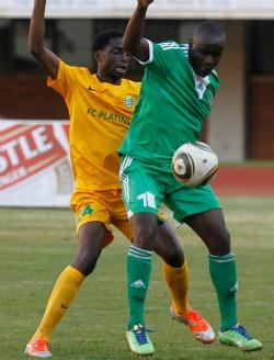 Dube stars  as Caps edge FC Platinum  Star of the show … Caps stopper, Tafadzwa Dube saves Nelson Mazivisa's spot kick