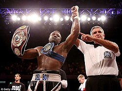 Chisora is Europe's Heavyweight champion  Take that … Chisora lands a punch on Gerber on Saturday on his way to title win