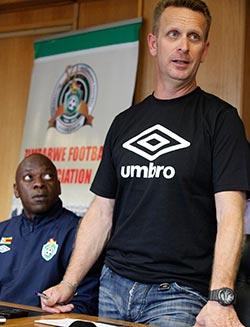 ZIFA agree  Warriors kit deal with Umbro  New kit … Ian Gorowa with players Masimba Mambare,Tafadzwa Dube and Patson Jaure