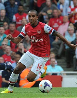 Wenger defends Walcott over gesture  Offensive? … Theo Walcott reminds Spurs fans of the scoreline as he leaves the pitch injured