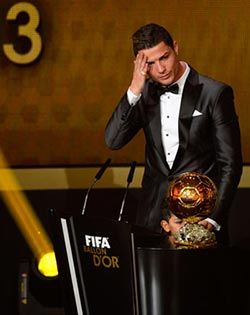 Tearful Ronaldo named player of the year