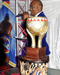 Dynamos face Rhinos in Chibuku Cup  Sponsorship boost … Delta's Mazen Karombo launch the cup with Twine Phiri of the PSL