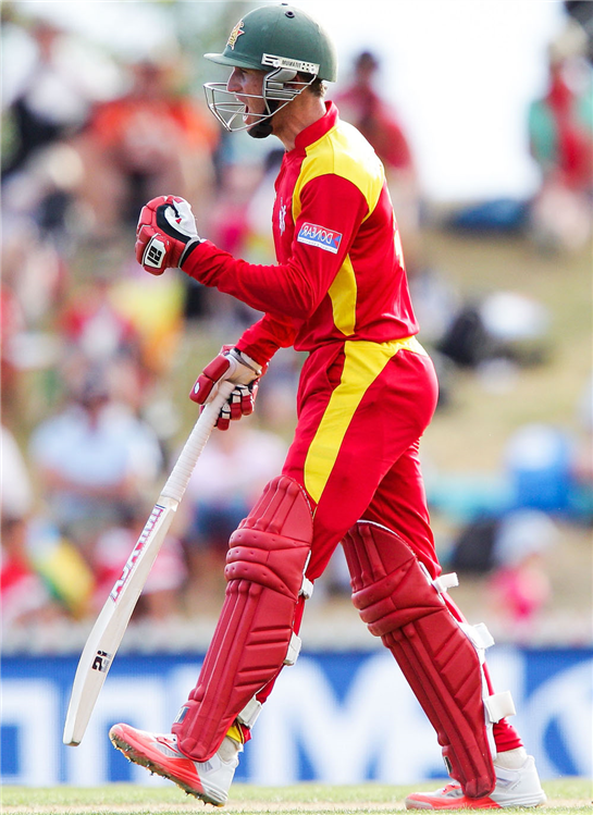 Zimbabwe can beat  any top team at the World Cup, says Sean Williams  Job done … Sean Williams (L) and Elton Chigumbura celebrate United Arab Emirates win
