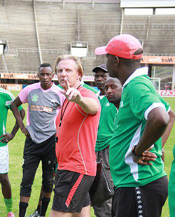 Caps United coach faces eviction, club fails to pay  rent  Risks being thrown out of rentended Harare home … Caps coach Mark Harrison (right)