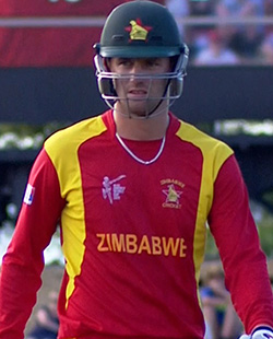 Ervine ton lifts Zimbabwe to stirring win against New Zealand  Friendly … Ross Taylor and Chris Mpofu share a lighter moment