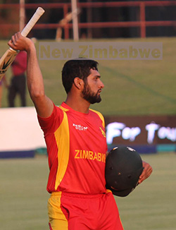 Zimbabwe  defeat Ireland by two wickets in Harare ODI opener  Tight win … Sikandar Raza consoles debutant Wellington Masakadza after he lost his wicket
