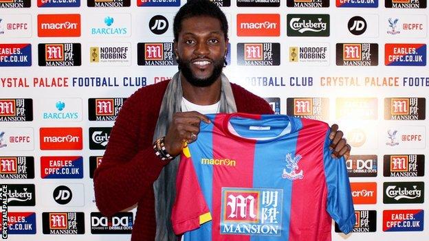 Emmanuel Adebayor: Crystal Palace sign striker on free transfer