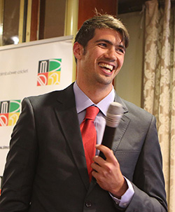 India's novices against Zimbabwe's best   Players from the two teams at a welcome party for India in Harare Thursday