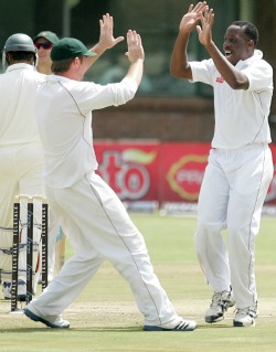 Zimbabwe take control with 442-run lead  Doing the damage … Keegan Meth picked up a couple of wickets