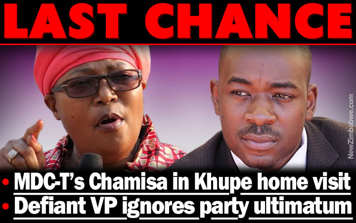 Chamisa says to visit Khupe home for talks