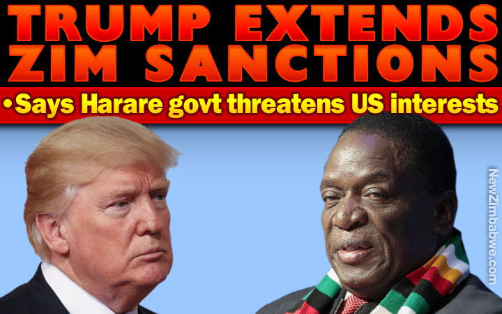US sanctions blow for Mnangagwa; Trump says Harare still a threat