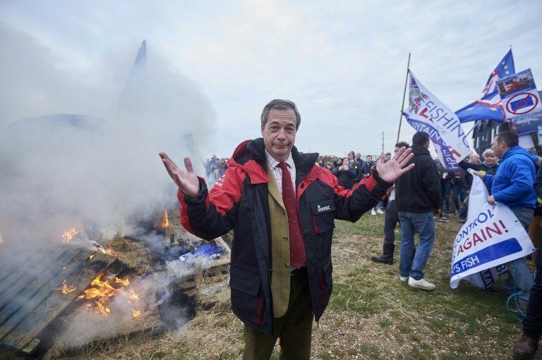 Boat set alight as UK fishermen hold anti-EU protests