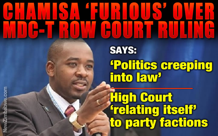 Chamisa rages over judge's ruling, says High Court in MDC-T factional politics