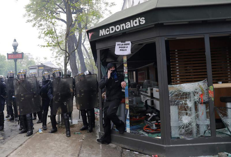 McDonald's torched, hundreds arrested in May Day protests in Paris