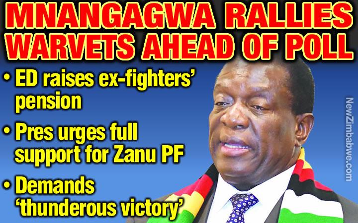 Mnangagwa raises war veterans' pension, demands full support for Zanu PF