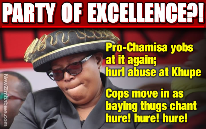 Activists in MDC-T regalia charge Khupe; chant 'hure! hure! hure!'