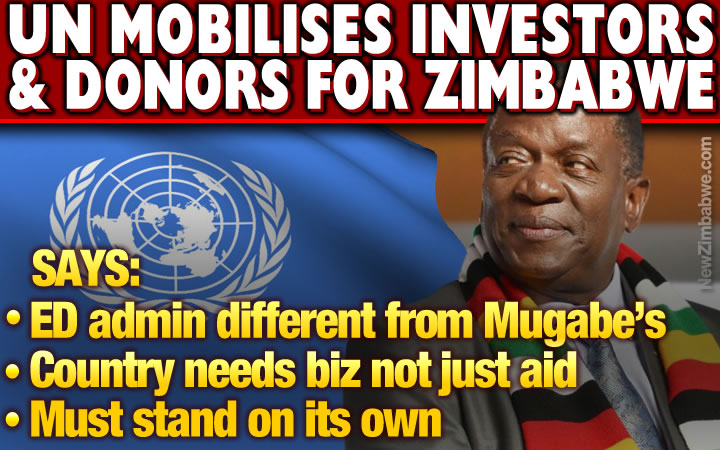 UN calls on donors, investors to support Zim, says new government different from Mugabe's