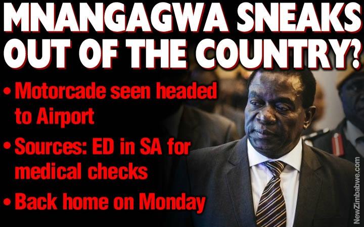Mnangagwa sneaks out; president said to have travelled to SA for 'medical checks'