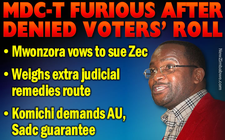 MDC-T raw and angry; mulls lawsuit, 'extra judicial remedies' as ZEC refuses to issue them with a copy of voters' roll