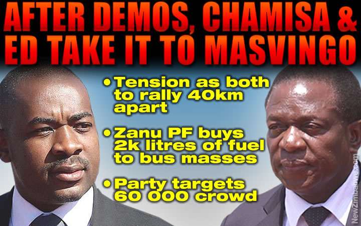 Tension grips Masvingo as Chamisa and Mnangagwa to address rallies on the same day; Zanu PF says bussing in supporters