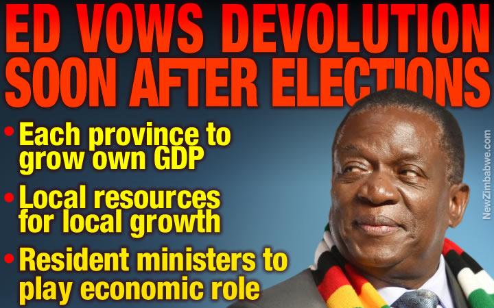 Mnangagwa: Devolution soon after polls; Matebeleland resources for provincial development