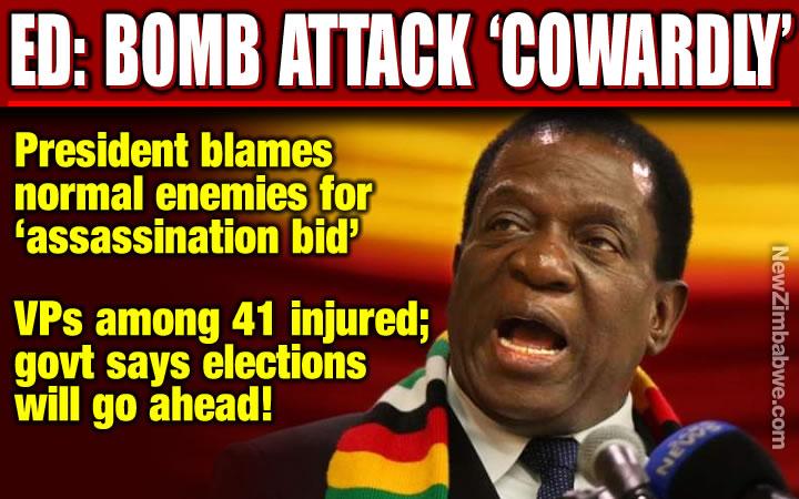 BYO BLAST: Mnangagwa calls assassination attempt 'cowardly act'