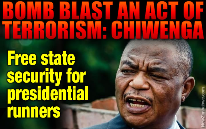 Chiwenga says Byo blast an act of terror; state to provide security to candidates